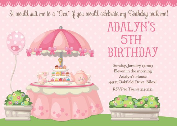 Tea Party Birthday Invitations Ideas Bagvania FREE Printable – Kids Tea Party Invitations
