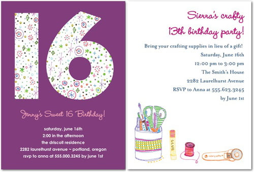 Purple 16th Birthday Invitations