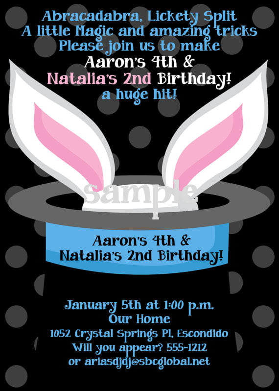 Magic birthday party invitations bagvania free printable rabbit magic trick birthday party invitations stopboris