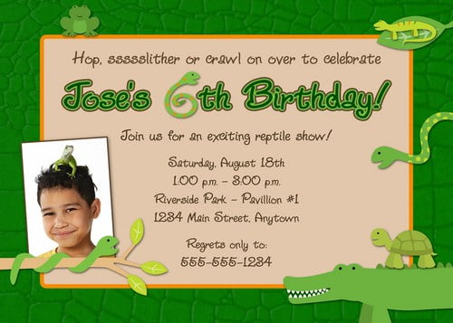 Reptile Alligator Birthday Invitations