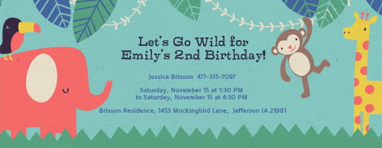tea party evite birthday invitations safari evite birthday invitations