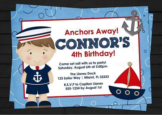 Sailor Boy Nautical Birthday Invitations