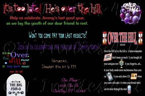 Scary over the hill birthday invitations ideas