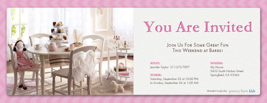 tea party evite birthday invitations