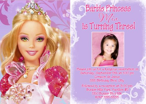 Thumbelina barbie birthday invitations