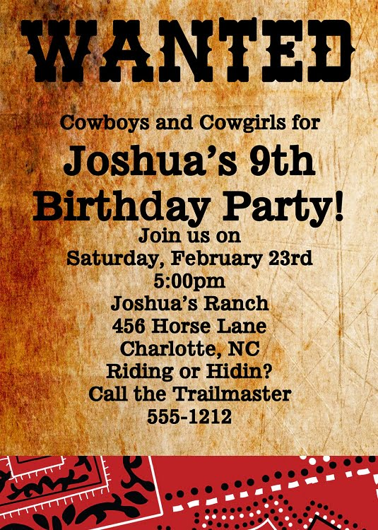 Wanted Poster Western Birthday Invitations Bagvania FREE Printable - Cowboy birthday invitation template