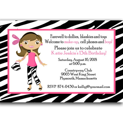 Zebra Print 13th Birthday Invitations