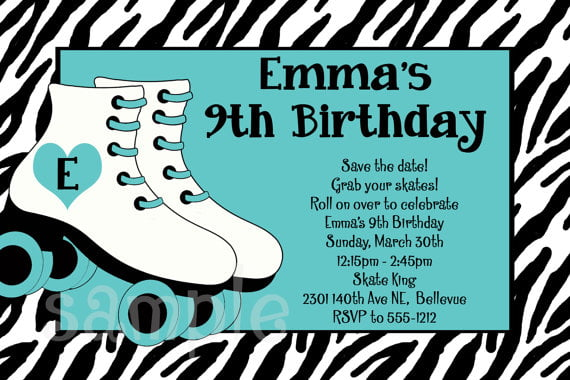 graphic about Free Printable Roller Skate Template named Zebra roller skating birthday invites Totally free Printable