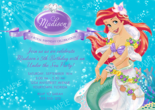 ariel 5th birthday invitations