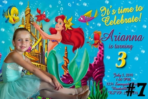 ariel birthday invitations photo