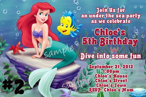 ariel birthday invitations template