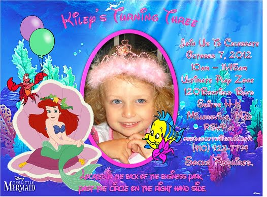 ariel custom photo birthday invitations