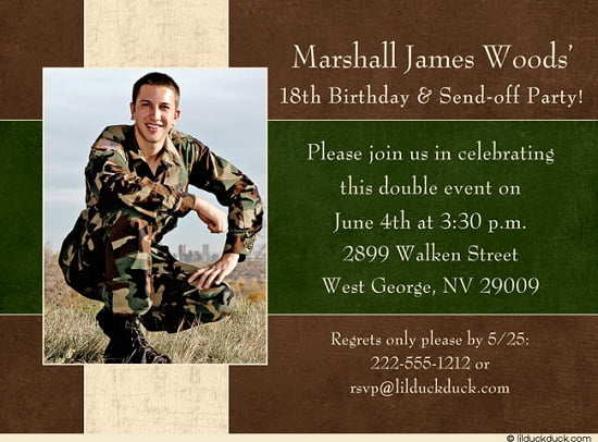 Army Birthday Invitations For Man