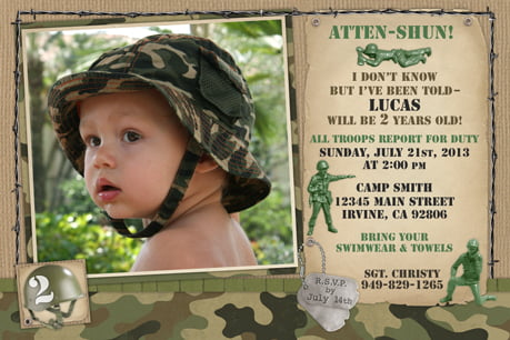 army camouflage birthday invitations