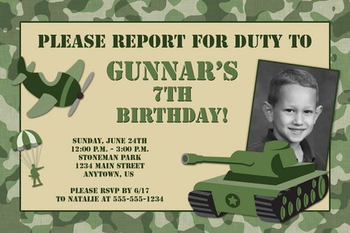 army custom photo birthday invitations