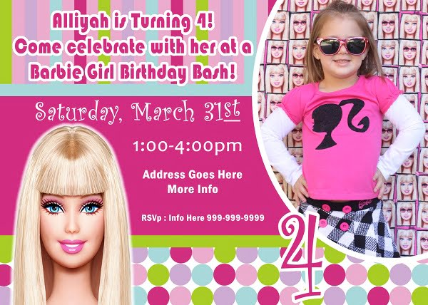Barbie Birthday Invitations Wording Free Printable Birthday