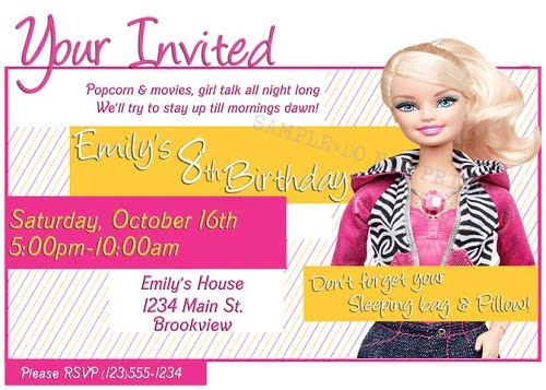 Barbie birthday party invitations bagvania free printable barbie birthday party invitations wording stopboris Gallery