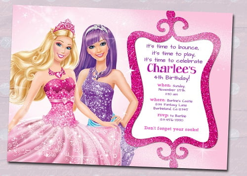 barbie princess birthday party invitations
