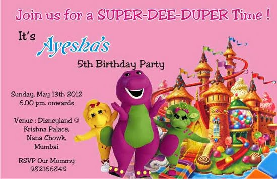 barney 5th birthday invitations