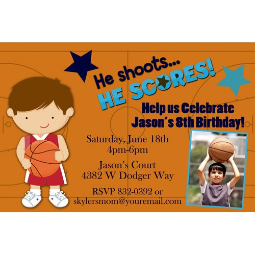 Basketball Player Sport Birthday Invitations