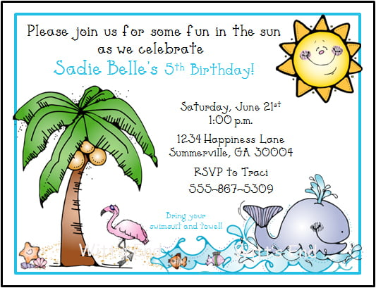 Beach Birthday Invitations Wording