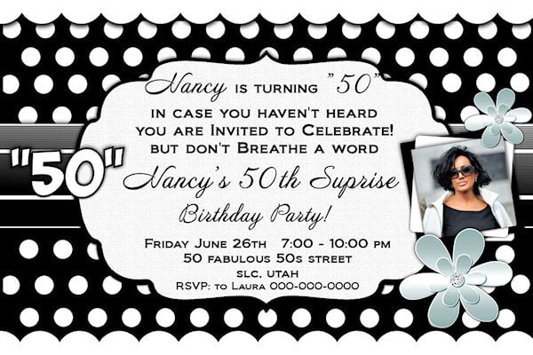 Black And White 50th Birthday Invitations