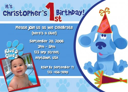 blues clues first birthday invitations