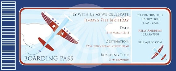 boarding pass airplane birthday invitations