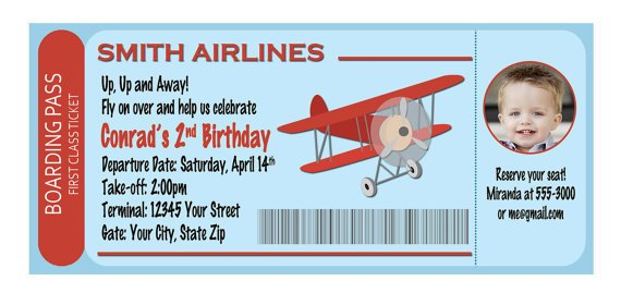 boarding pass birthday invitations boys