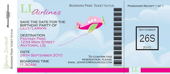 boarding pass birthday invitations girl