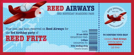 boarding pass birthday invitations printable