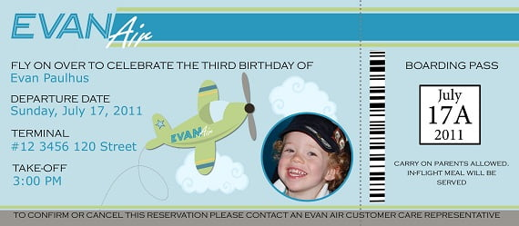 boarding pass birthday invitations wording