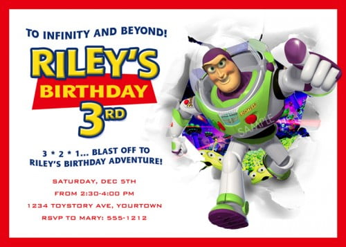 buzz lightyear 3rd birthday invitations ideas