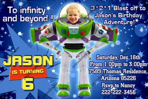 buzz lightyear birthday invitations ideas boys