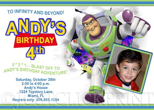 buzz lightyear custom photo birthday invitations ideas