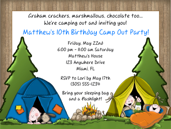 campout 10th birthday party invitations ideas