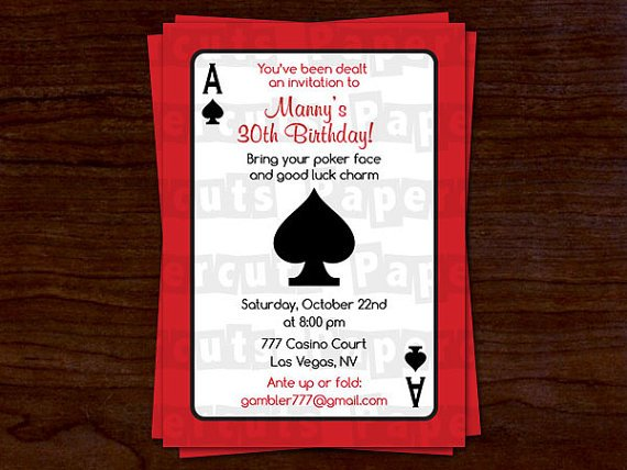 casino birthday party invitations ideas printable
