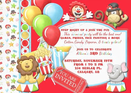 Circus Birthday Party Invitations Wording