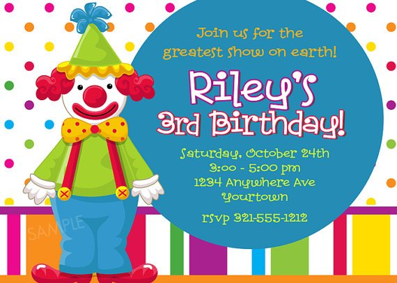 clown birthday invitations ideas for kids
