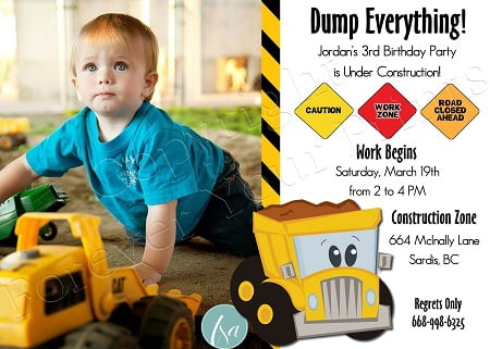 Construction 3rd Birthday Party Invitations