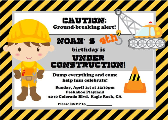 construction 4th birthday party invitations Bagvania FREE