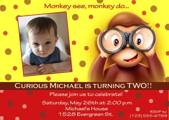 curious george 2nd birthday party invitations