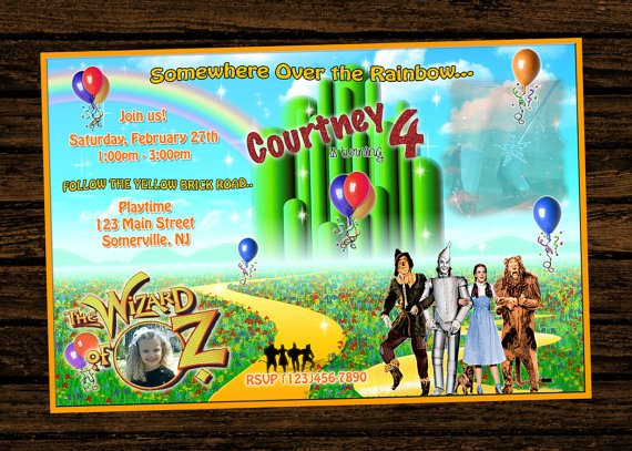 custumize wizard of oz birthday party invitations ideas