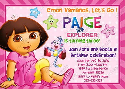 Dora the explorer birthday invitations ideas bagvania free dora the explorer 3rd birthday invitations filmwisefo