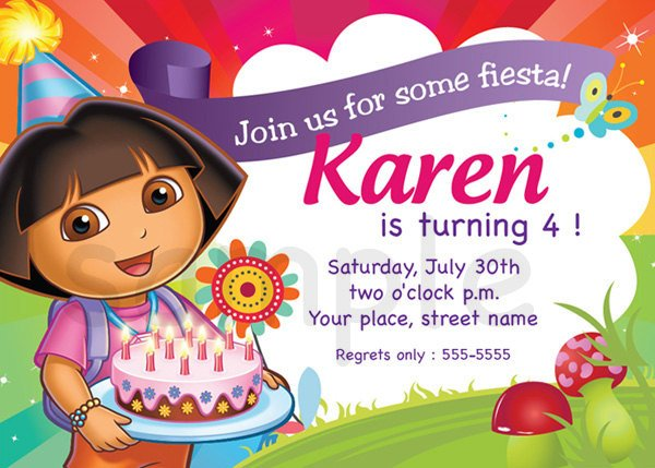 dora the explorer birthday invitations ideas – bagvania free, Birthday invitations