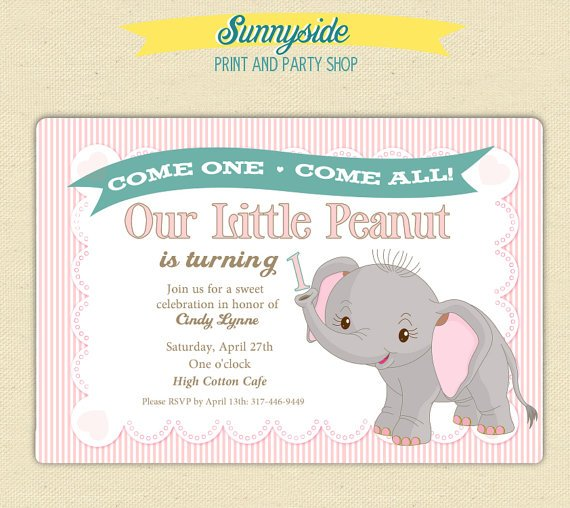 elephant 1st birthday invitations