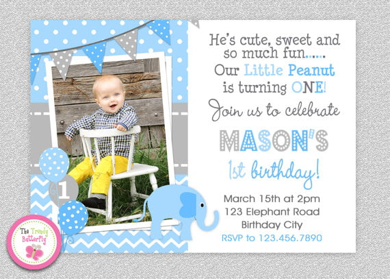 Elephant Birthday Invitations Boys