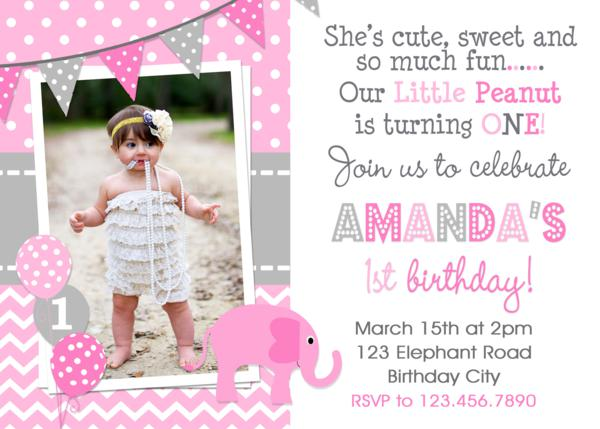 Elephant Birthday Invitations Girls