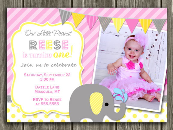 elephant birthday invitations wording