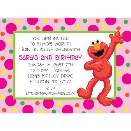 elmo in pink birthday party invitations